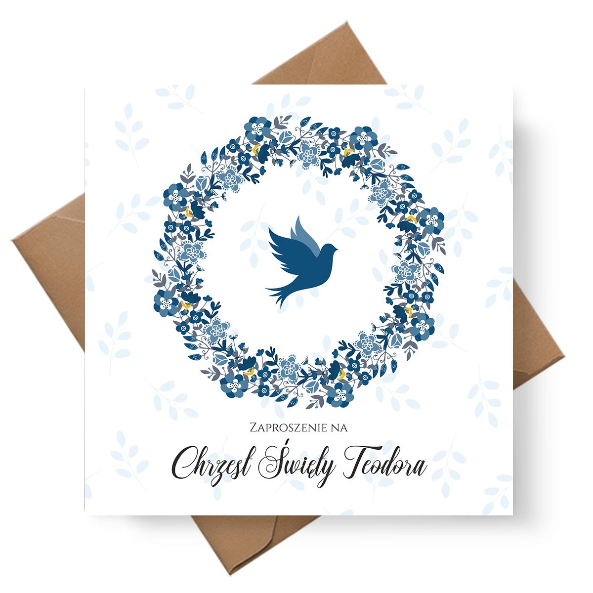 Błękitne zaproszenie na Chrzest