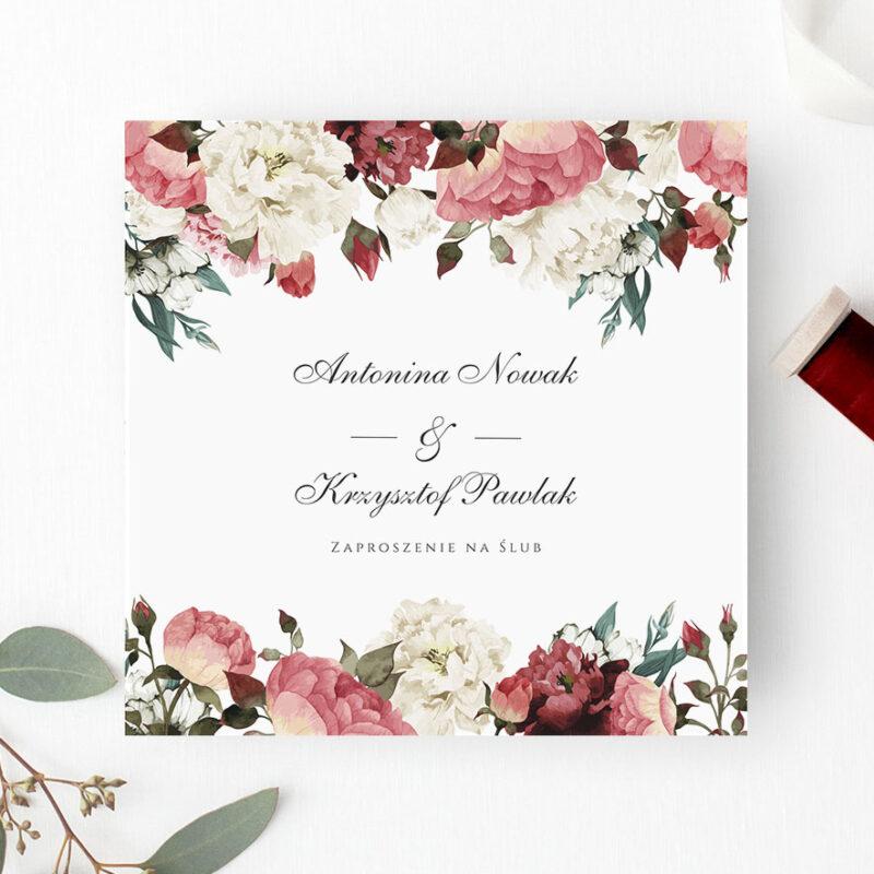 Zaproszenie ślubne w odcieniach bordo