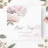 Zaproszenie ślubne z kwiatami w odcieniach prudowego rózu