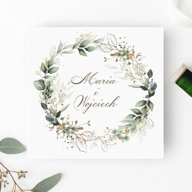 Zaproszenie ślubne w odcieniach zieleni - Paperstudio