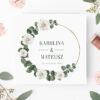 Zaproszenie ślubne eukalitus białe kwiaty