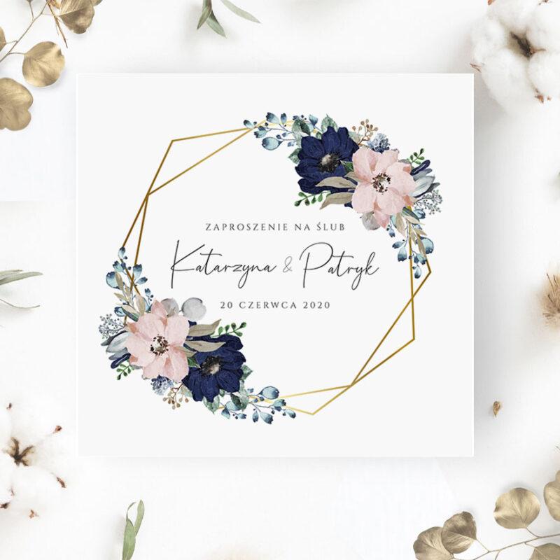 Zaproszenie Ślubne z granatowym kwiatem