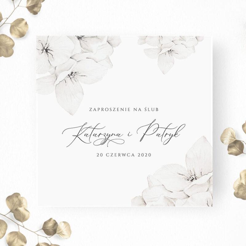Delikatne zaproszenie ślubne w białe kwiaty