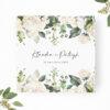 Zaproszenie ślubne z elementami zielonych i kremowych kwiatów