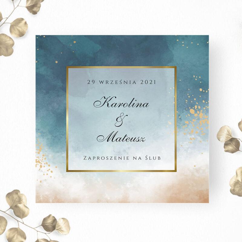 Zaproszenie ślubne niebieski cień