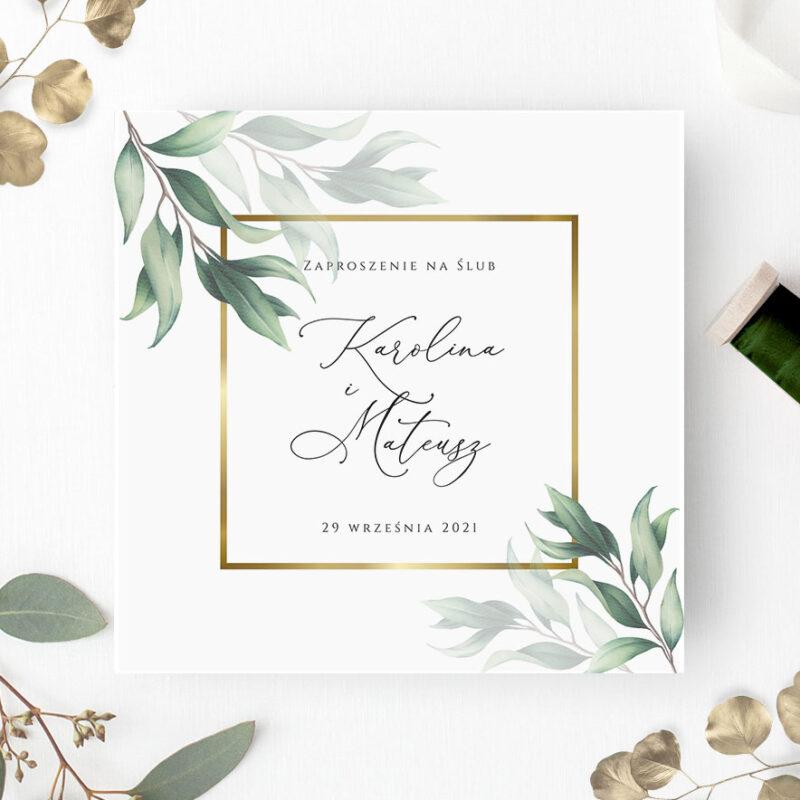 Zaproszenie Ślubne w odcieniach zieleni ze złotą ramką
