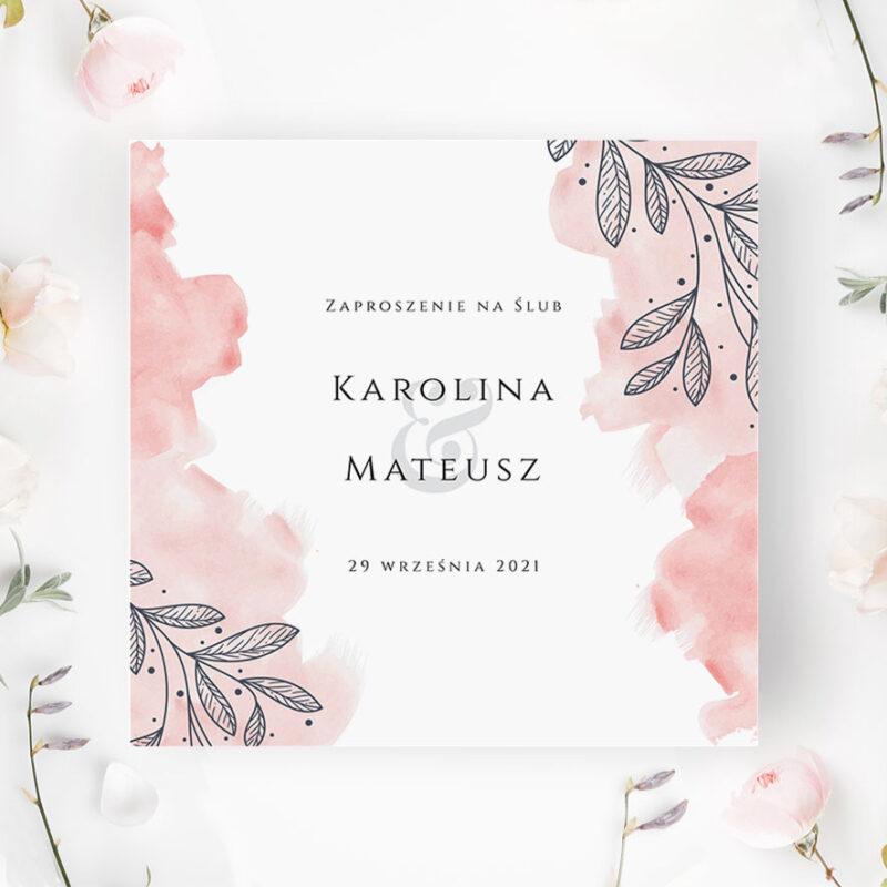 Zaproszenie Ślubne z różowymi dodatkami