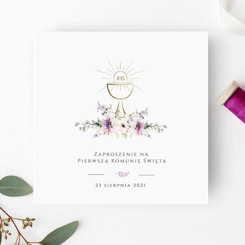 Zaproszenie na Komunię w odcieniach fioletu