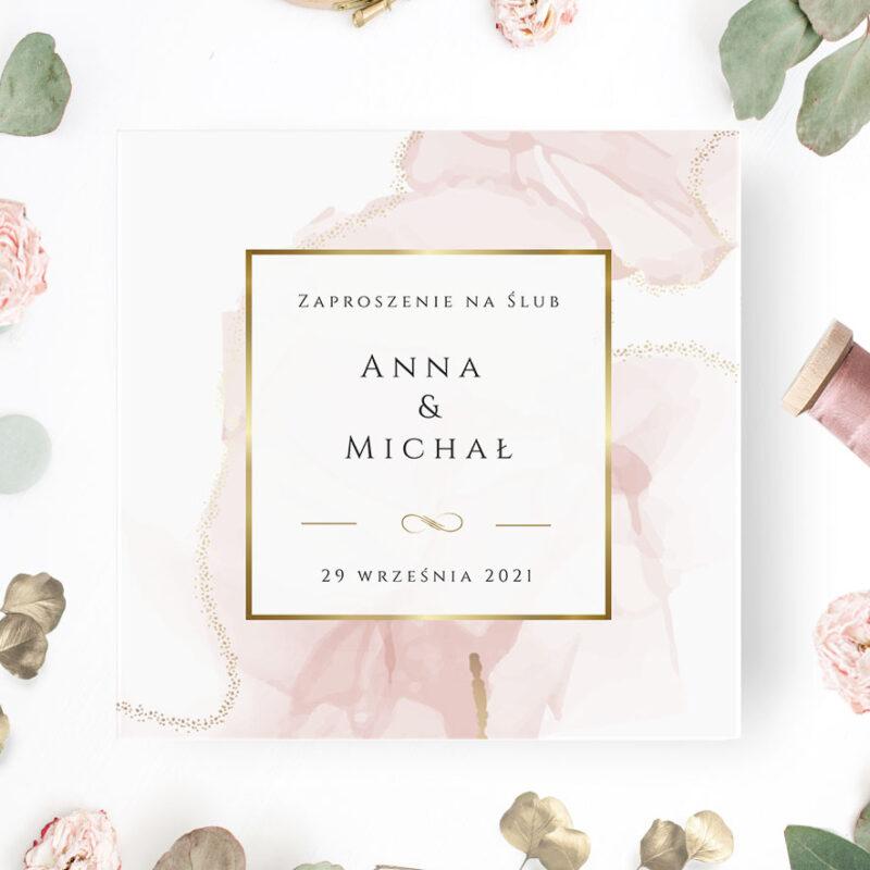 Zaproszenie ślubne różowe drukarnia