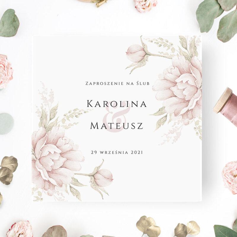 Zaproszenie ślubne w odcieniach pudrowy różu