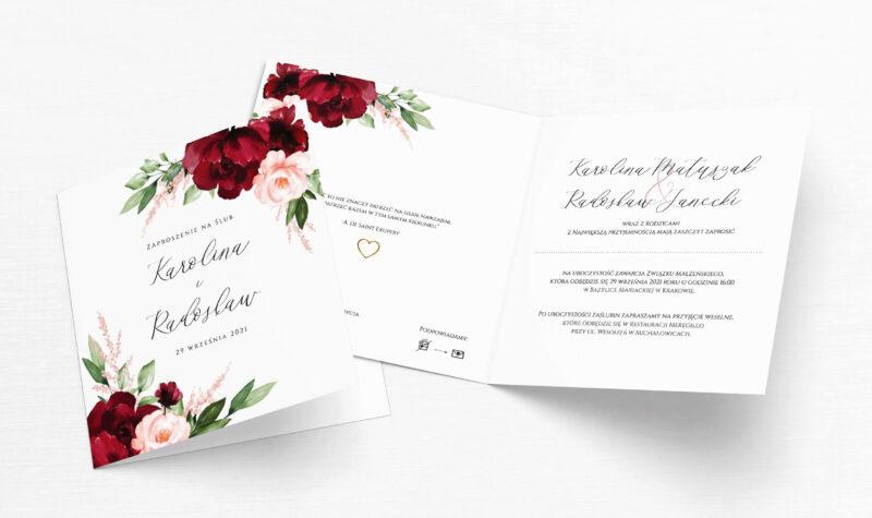 Zaproszenie Ślubne bordo