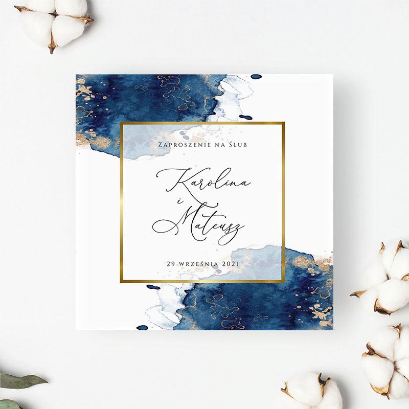 Zaproszenie Ślubne Złoto granat