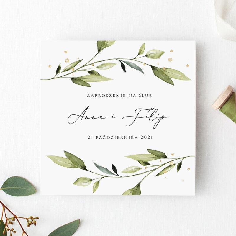 Zaproszenie ślubne zielone