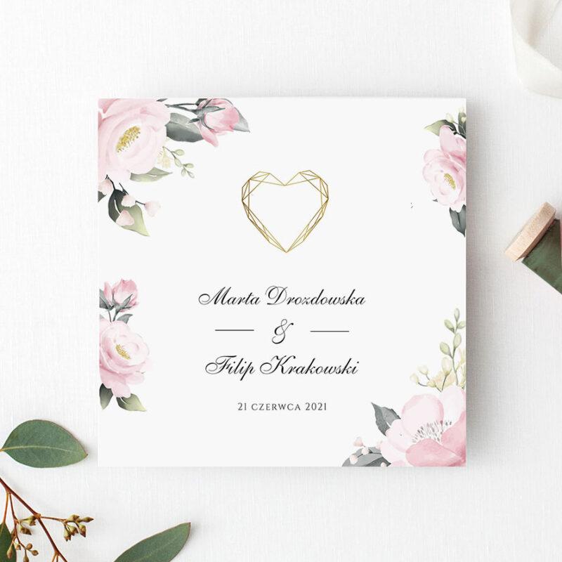 Zaproszenie Ślubne serce