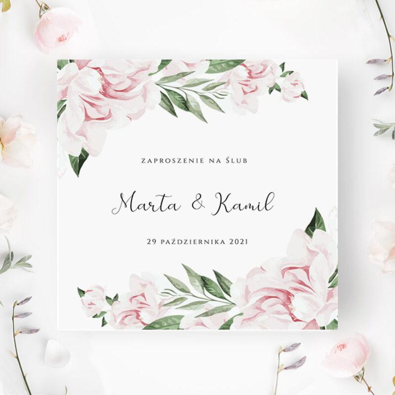 Zaproszenie Ślubne w odcieniach pudrowego różu