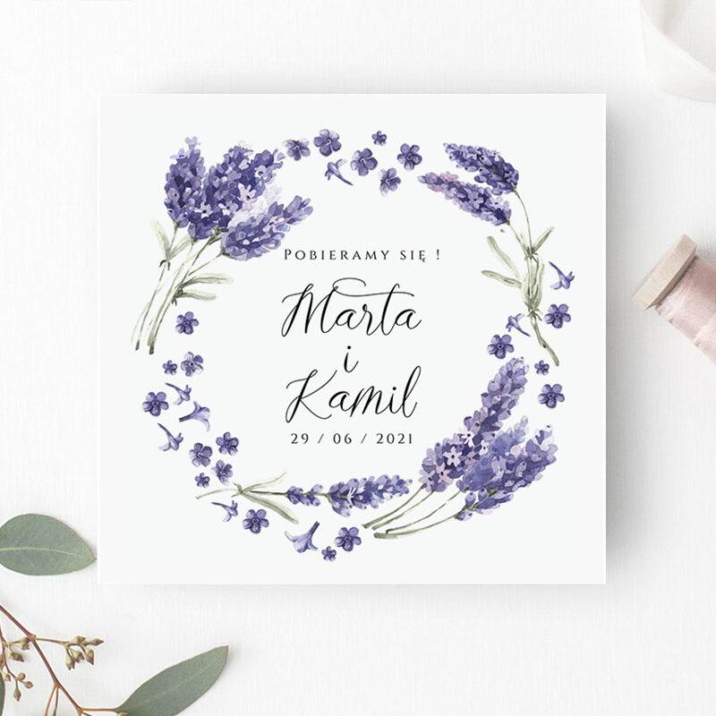 Zaproszenie Ślubne lawenda