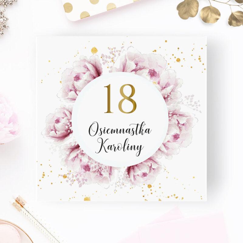 Zaproszenie na 18 różowe piwonie