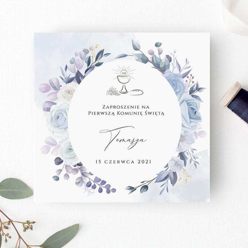 Zaproszenie na pierwszą komunię świętą w odcieniach fioletu