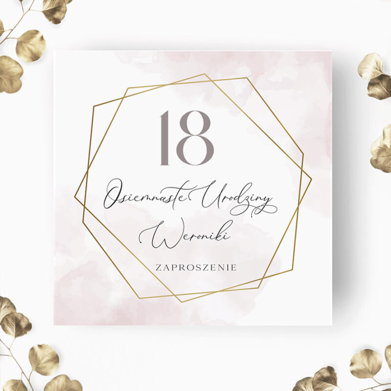 Zaproszenie na 18 urodziny w odcieniach różu