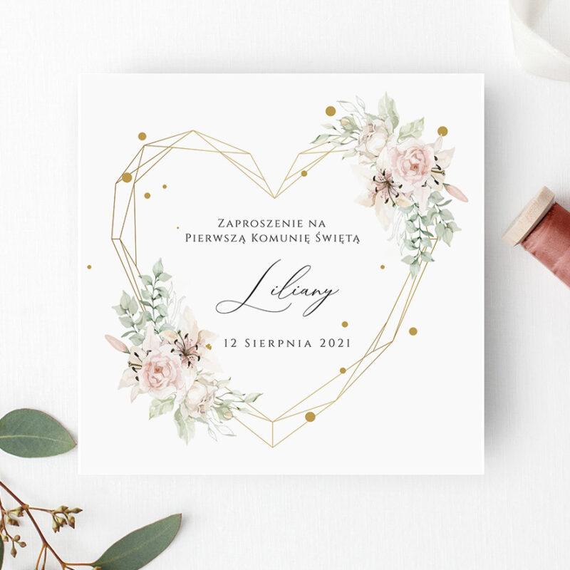 Zaproszenie na Komunię świętą z geometrycznym serduszkiem w odcieniach rózu