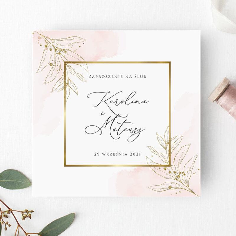 Zaproszenie ślubne w odcieniach różu i złota