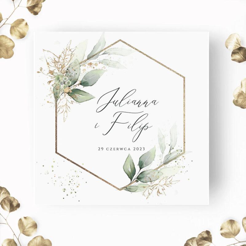 Zaproszenie Ślubne z elemantami zieleni