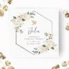 Zaproszenie na Chrzest Świety z motywem kremowych kwiatów