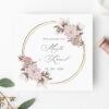 Zaproszenie ślubne ze złotym okręgiem różowe