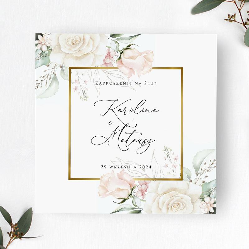 Zaproszenie Ślubne z motywem kremowych kwiatów