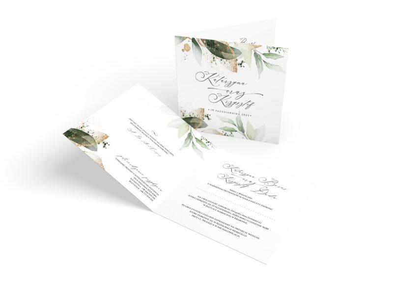 Zaproszenie ślubne w odcieniach zieleni i z dodatkiem starego złota