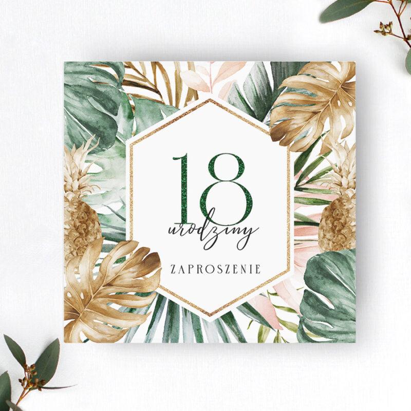 Zaproszenie urodzinowe z motywem tropikalnym