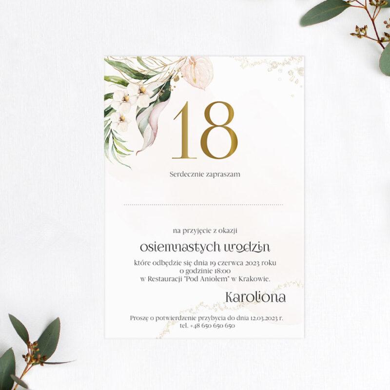 Zaproszenie urodzinowe osiemnastka