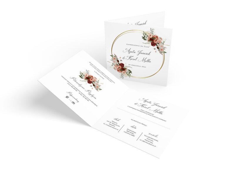Zaproszenie Ślubne z obrączkami