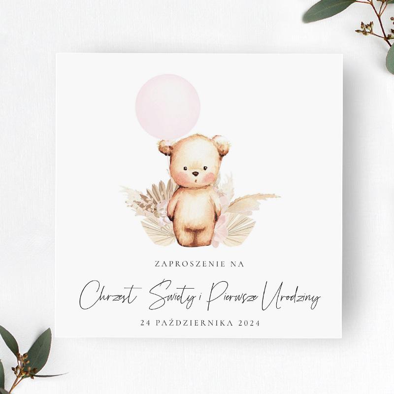 Zaproszenie na Chrzest Święty i pierwsze urodziny z misiem i różowym balonikiem