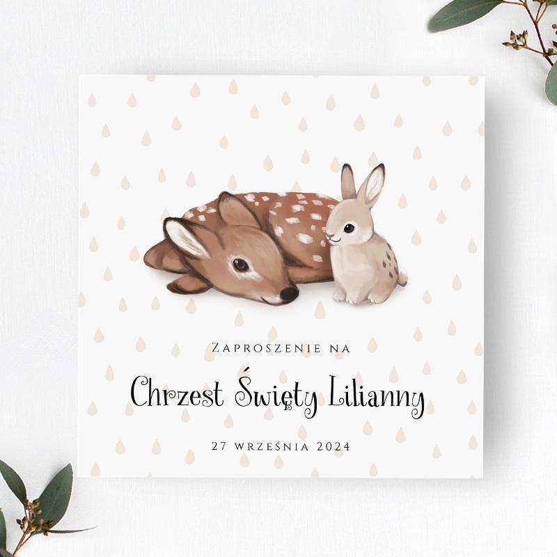 Zaproszenie na Chrzest Święty z sarenką i króliczkiem