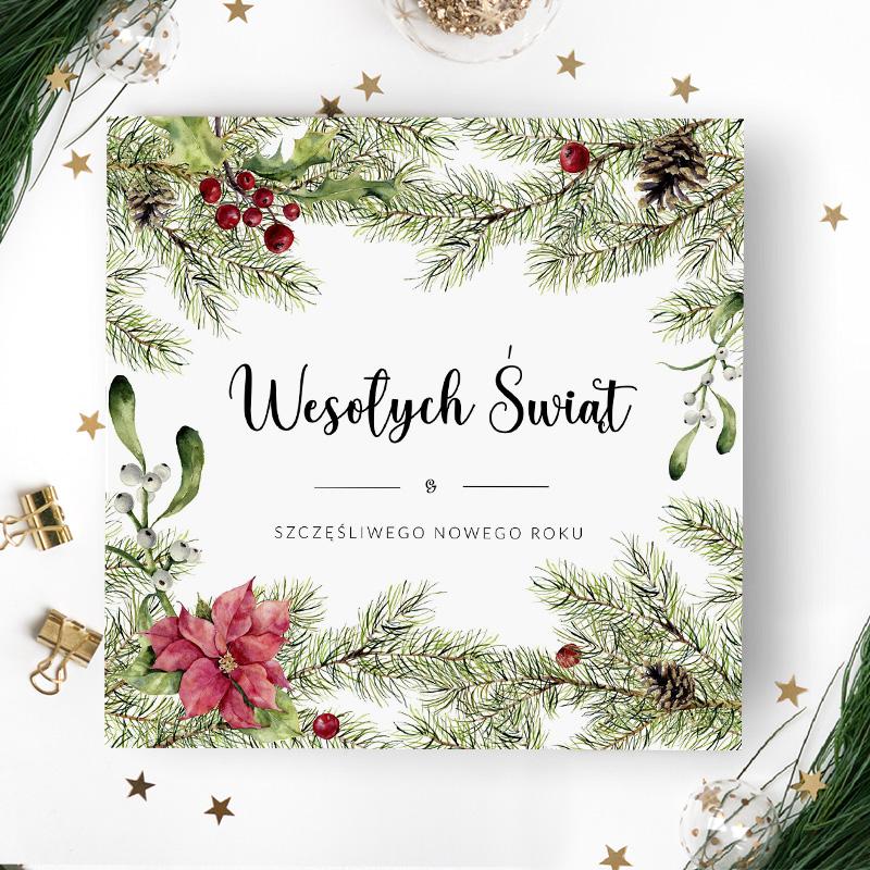 Kartka Boże Narodzenie krzaczki