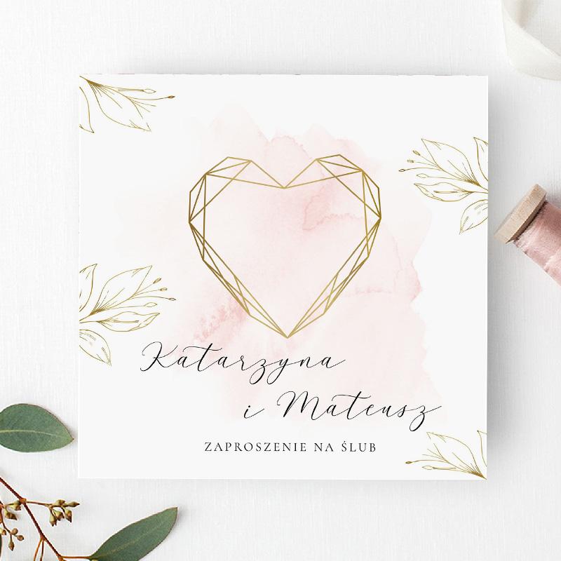 Zaproszenie Ślubne pudrowy róż 1